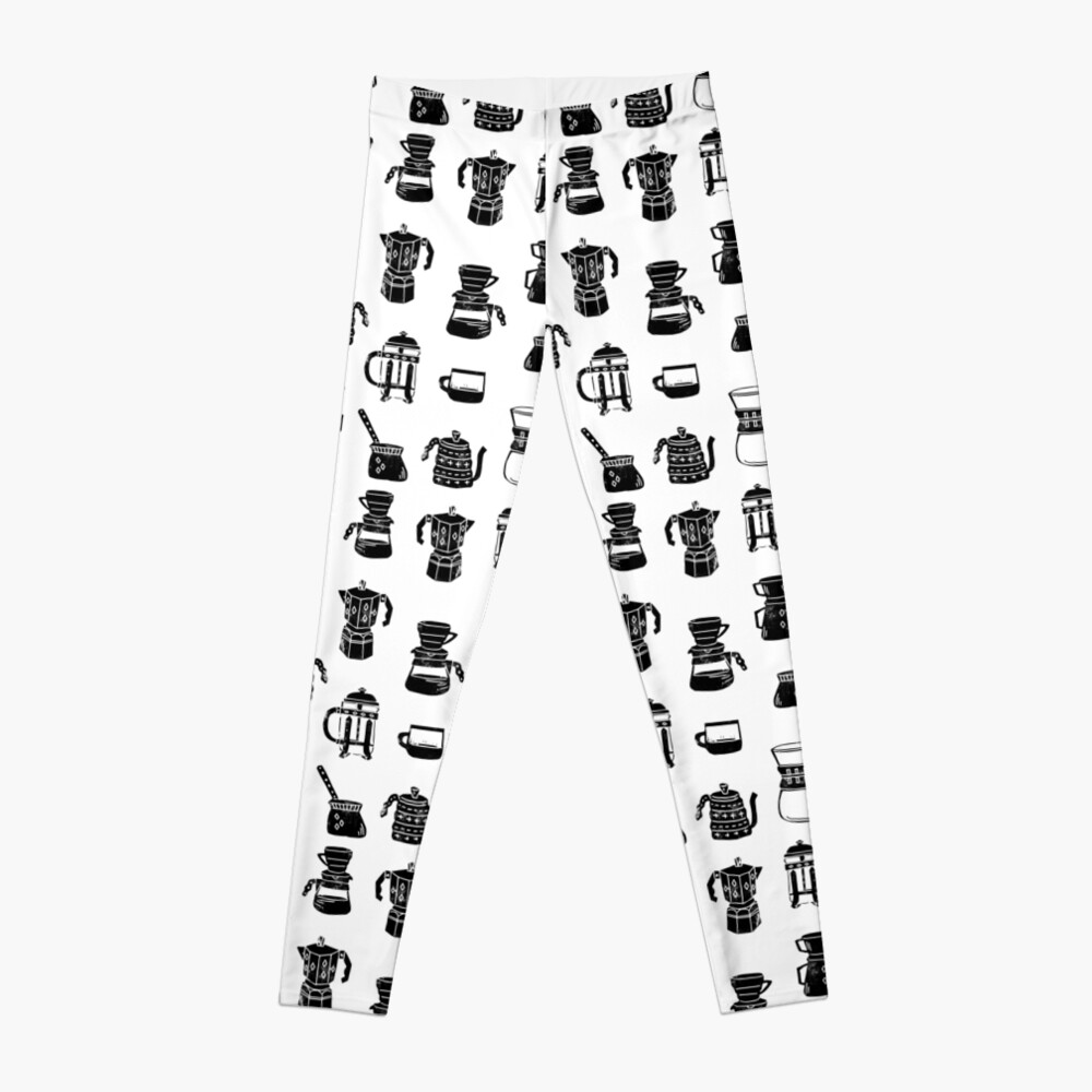 coffee makers espresso linocut black and white minimal cafe Leggings