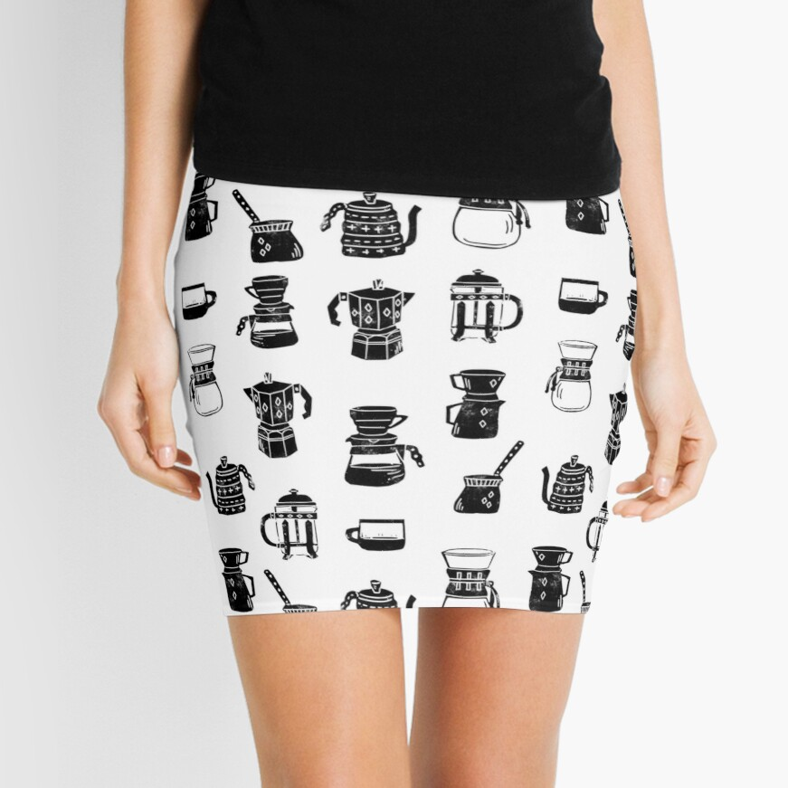 coffee makers espresso linocut black and white minimal cafe Mini Skirt