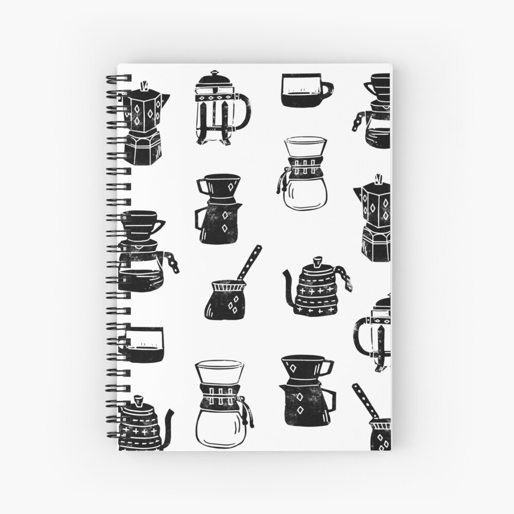 coffee makers espresso linocut black and white minimal cafe Spiral Notebook