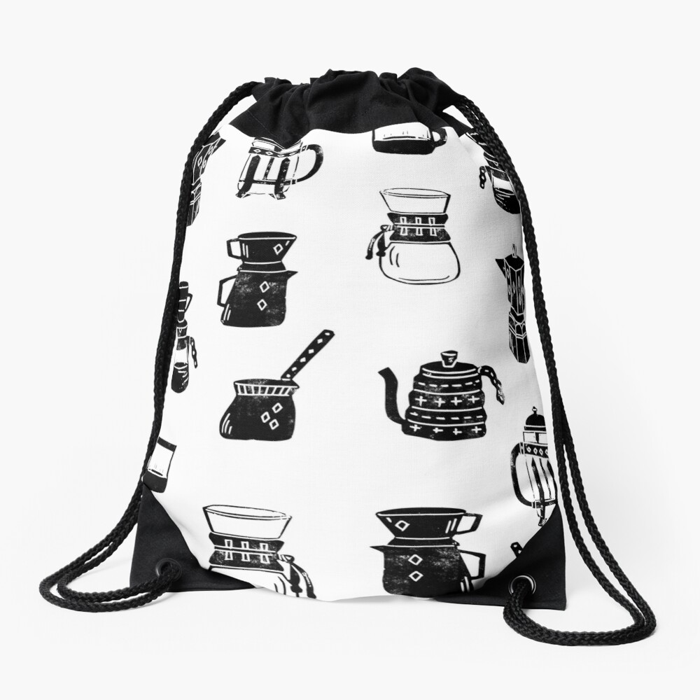 coffee makers espresso linocut black and white minimal cafe Drawstring Bag