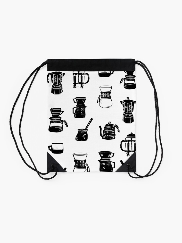 Alternate view of coffee makers espresso linocut black and white minimal cafe Drawstring Bag