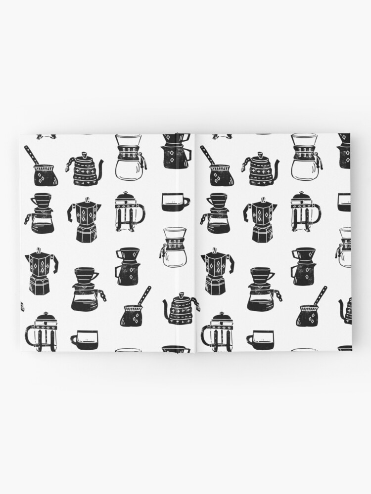 Alternate view of coffee makers espresso linocut black and white minimal cafe Hardcover Journal