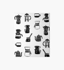 Kaffeemaschinen Espresso Linolschnitt schwarz und weiß minimal Cafe Galeriedruck
