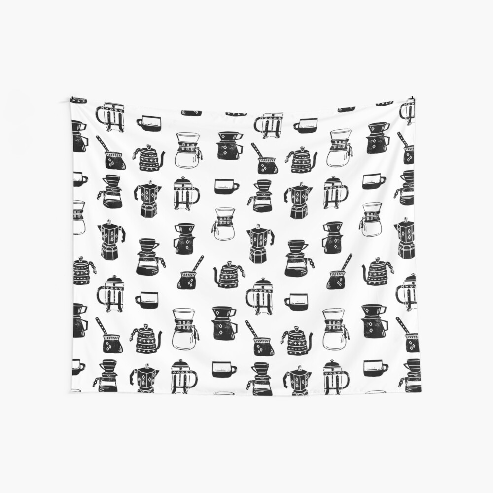 coffee makers espresso linocut black and white minimal cafe Wall Tapestry