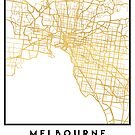 MELBOURNE AUSTRALIA CITY STREET MAP ART by deificusArt