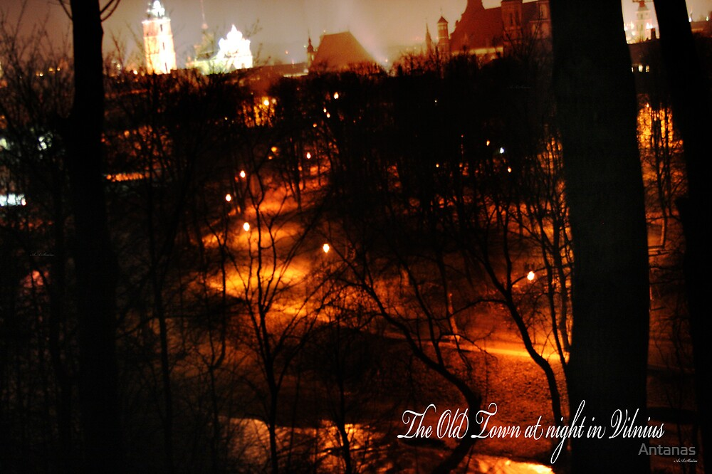 The Old Town at night in Vilnius by Antanas