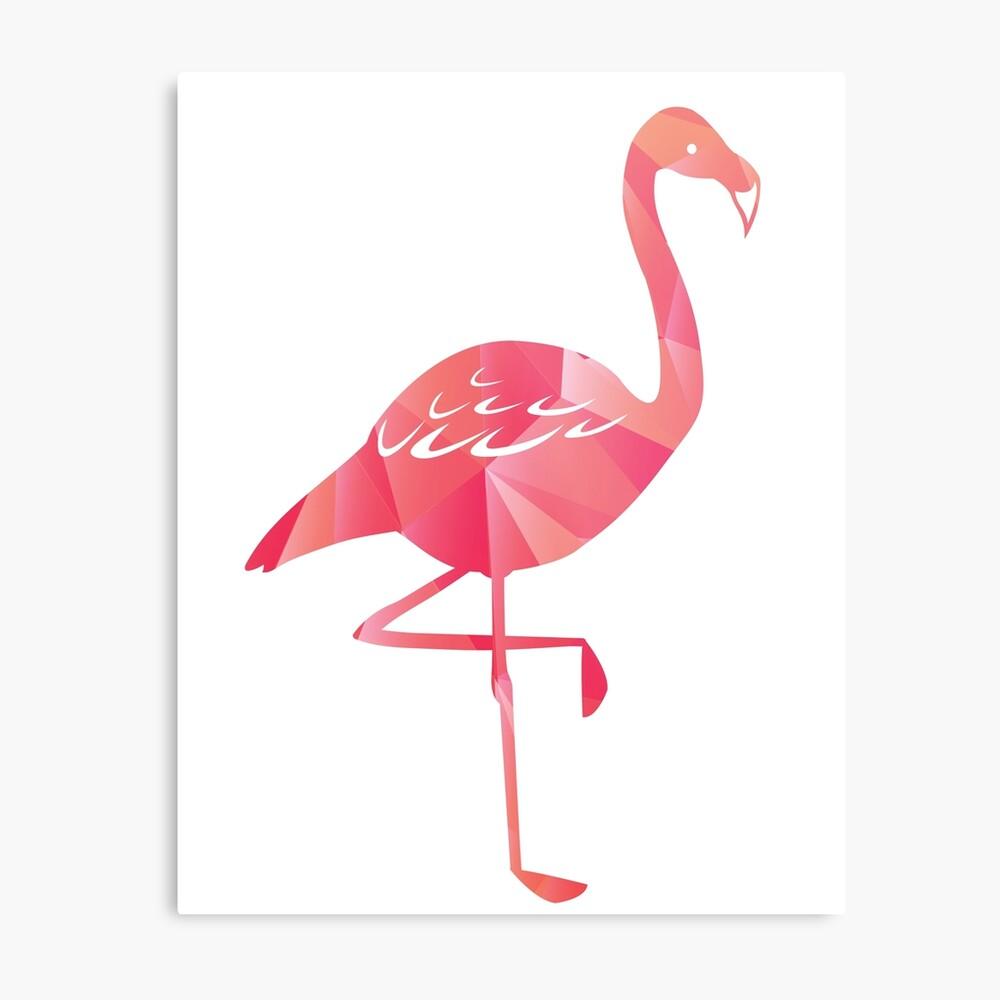 A Geometric Pink Flamingo Metal Print