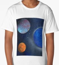 Spray Paint Art Planets Galaxy Space blue orange 2.5 Long T-Shirt