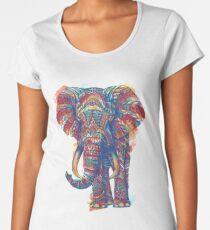 Camiseta premium de cuello ancho Elefante adornado (versión de acuarela)