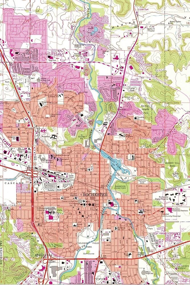 Rochester Minnesota Map 1972 By Bravuramedia Redbubble