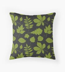 Pattern of green leaves Throw Pillow