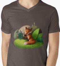 Fox' Flower T-Shirt mit V-Ausschnitt
