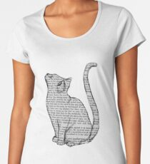 cat reading book sticker Women's Premium T-Shirt