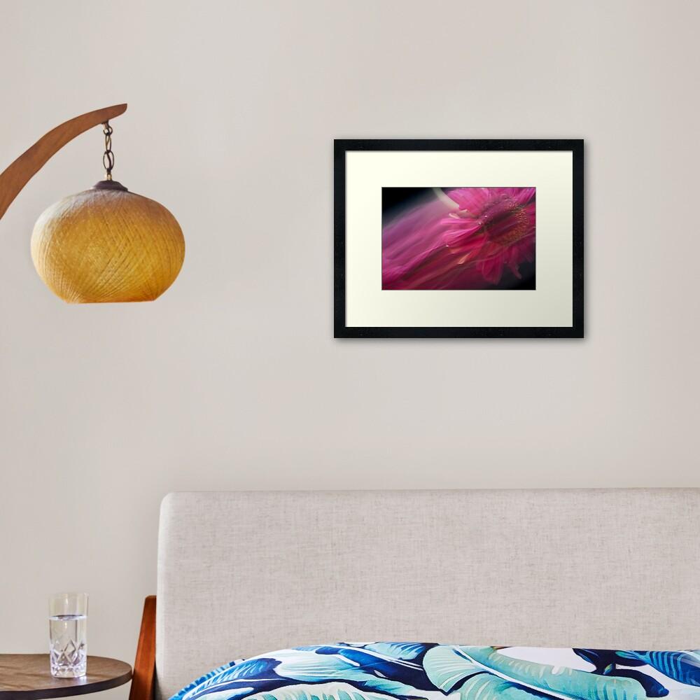 Fleur Blur-Abstract Pink Gerbera Daisy Framed Art Print