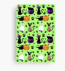 Halloween Cats (Green) Canvas Print