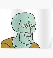 Handsome Squidward meme Poster