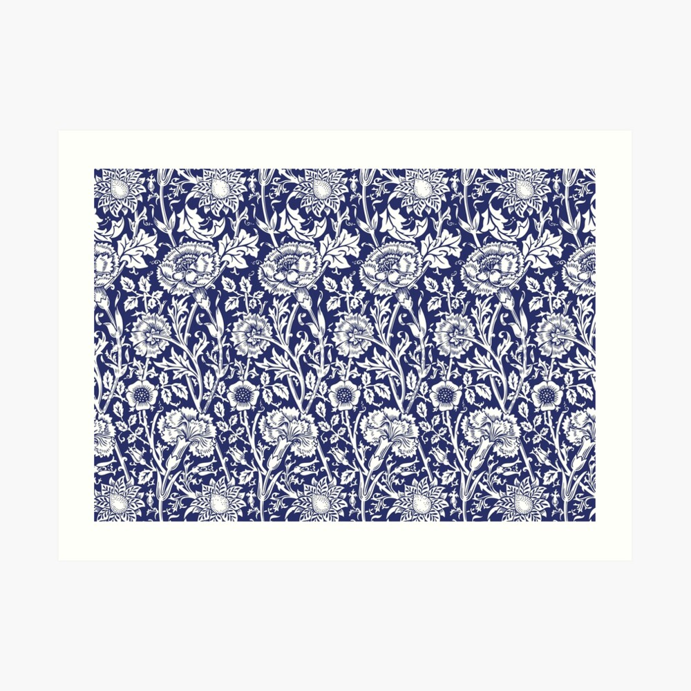 William Morris Carnations   Navy Blue and White Floral Pattern   Flower Patterns   Vintage Patterns   Classic Patterns   Art Print