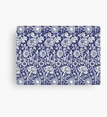 William Morris Carnations | Navy Blue and White Floral Pattern Canvas Print