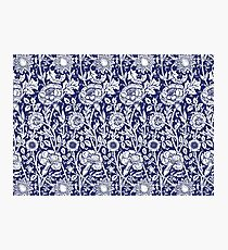 William Morris Carnations   Navy Blue and White Floral Pattern Photographic Print