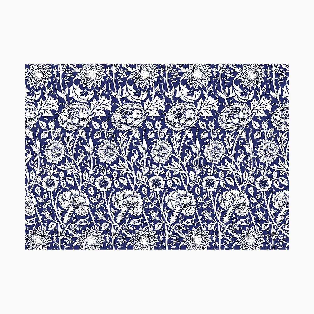 William Morris Carnations | Navy Blue and White Floral Pattern | Flower Patterns | Vintage Patterns | Classic Patterns | Photographic Print