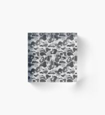 BAPE Camo Greyscale Black and White Acrylic Block