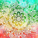 'Tropical Soul' Blue Green Yellow Pink Mandala by ImageMonkey