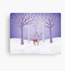 Deer - Squirrel - Winter - Snow - Forest Canvas Print