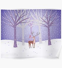 Deer - Squirrel - Winter - Snow - Forest Poster