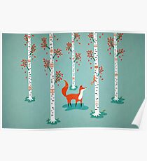 Fox - Squirrel - Birch trees - Fall Poster