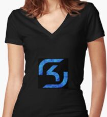 SK Gaming blue flames Women's Fitted V-Neck T-Shirt