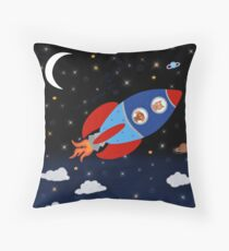 Space - Rocket - Cat - Dog Throw Pillow