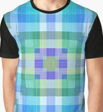 Bright Blue Plaid Geometric Graphic T-Shirt