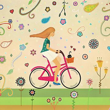 Bicycle Ride - Girl - Cat by cristinadesign
