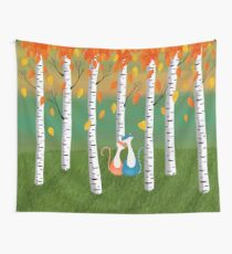 Cats - Forest - Birch Trees - Fall Wall Tapestry