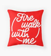 Fire Walk With Me - White On Red Throw Pillow