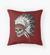 Chief Screaming Skull Digital Graphic Throw Pillow