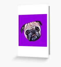 Butch the Pug - Purple Greeting Card
