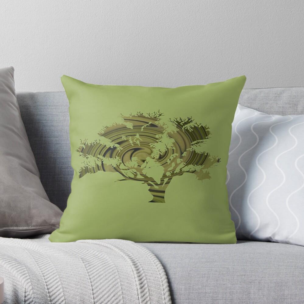 Árbol de la vida- Remolinos esmeralda Cojín