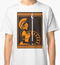 palas athena minerva greek roman mythology goddess orange and black old plate painting Classic T-Shirt
