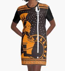palas athena minerva greek roman mythology goddess orange and black old plate painting Graphic T-Shirt Dress