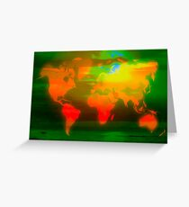 Green water world map Greeting Card