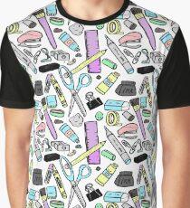 Art Supplies Pattern Graphic T-Shirt