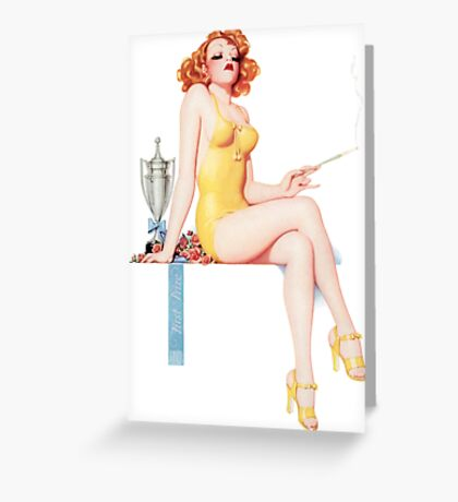 Tasty Pinups™ Vintage Red Head Smoking Hot Greeting Card