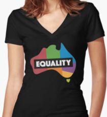 LGBT equality australia Women's Fitted V-Neck T-Shirt