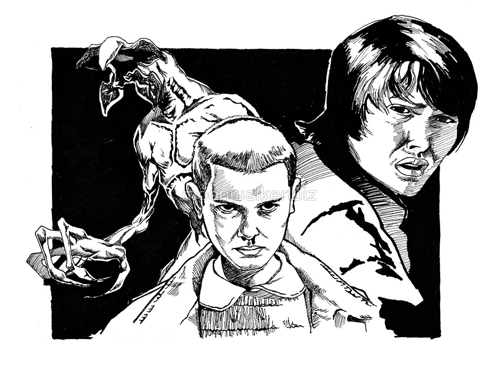 Eleven, Mike, and the Demogorgon by moonwalkerwiz