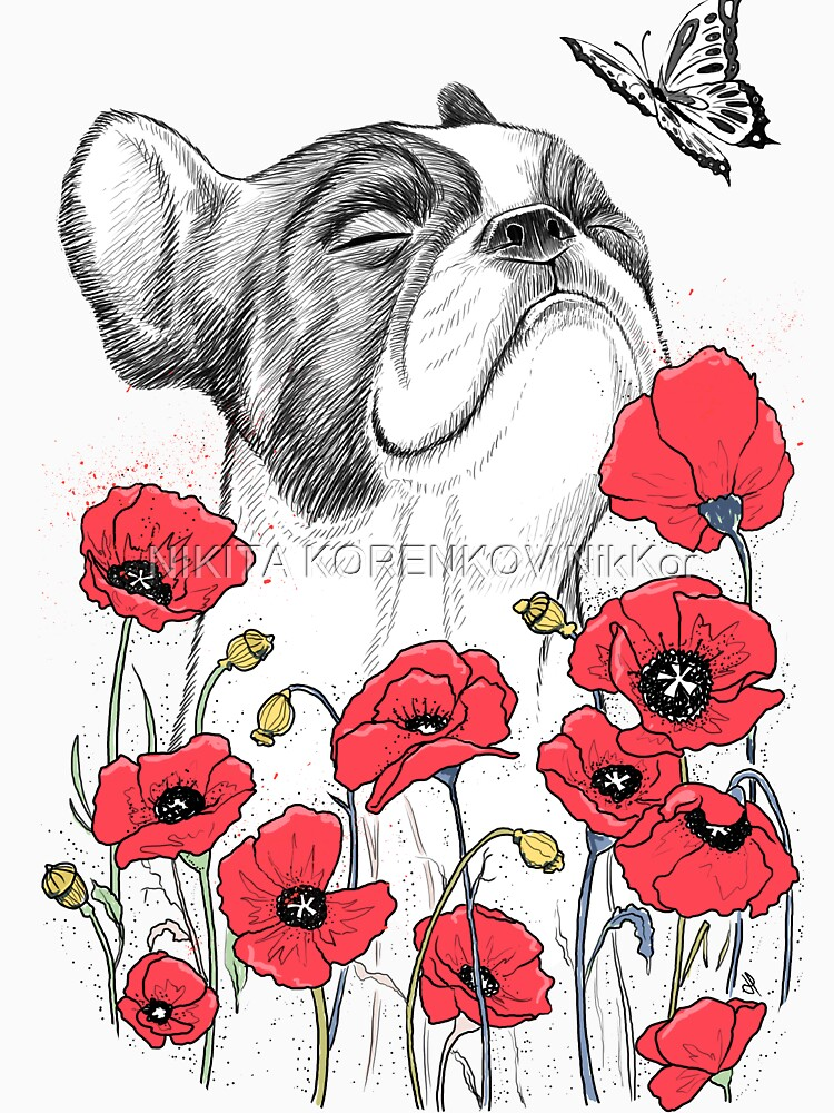 Pug in flowers by NikKor
