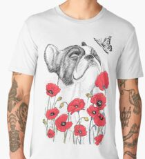 Pug in flowers Men's Premium T-Shirt