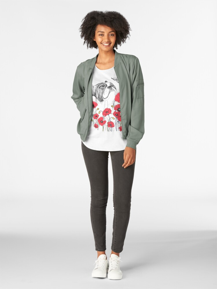 Alternative Ansicht von Pug in flowers Premium Rundhals-Shirt