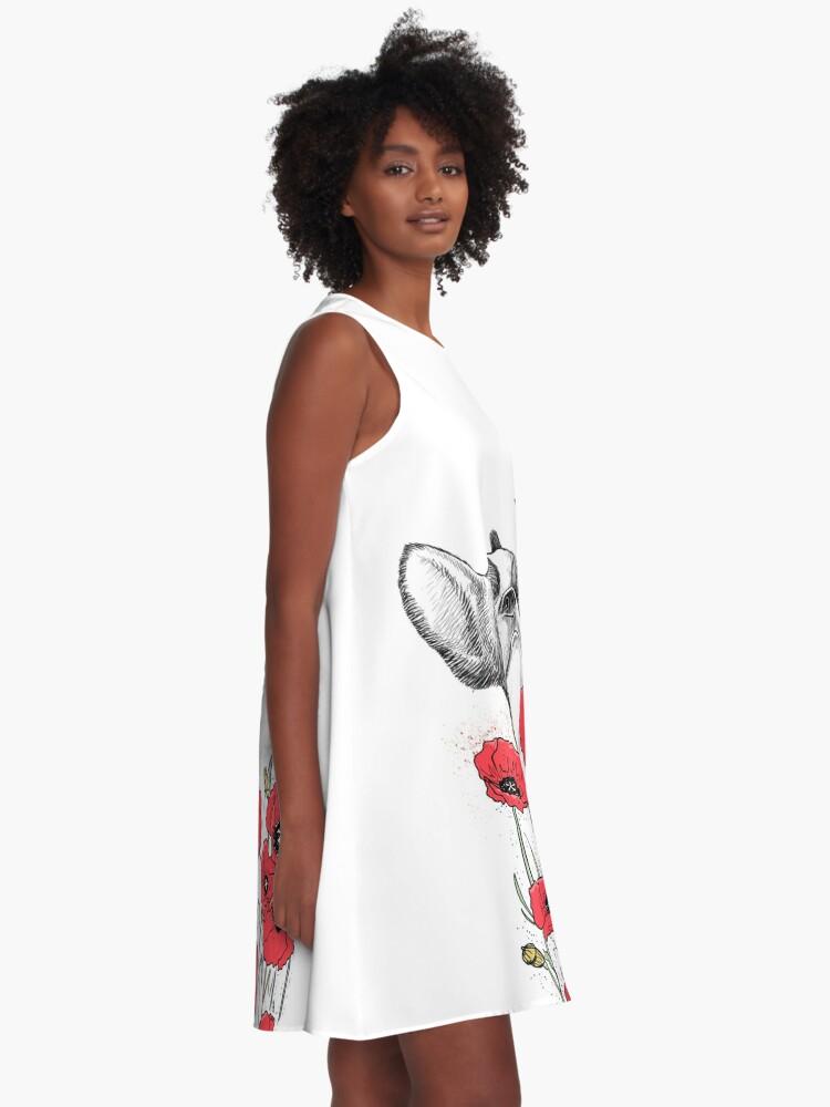 Alternative Ansicht von Pug in flowers A-Linien Kleid