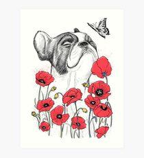 Pug in flowers Art Print
